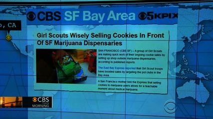 News video: Headlines at 8:30: Girl Scouts selling cookies outside marijuana dispensaries
